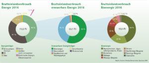 Kreisdiagramme Bruttoinlandsverbrauch Energie, Erneuerbare Energie und Bioenergie 2016 Salzburg