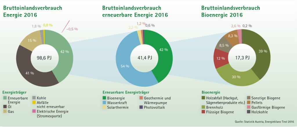 Kreisdiagramme Bruddoinlandsverbrauch Energie 2016, Erneuerbare Energie 2016 und Bioenergie 2016