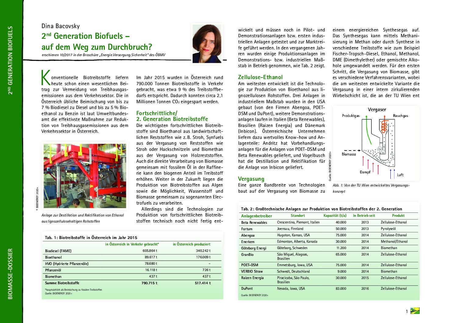 2nd Generation Biofuels – auf dem Weg zum Durchbruch?