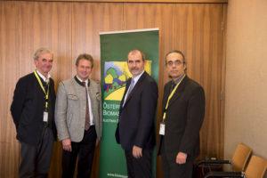 v.li.: Peter Püspök (Präsident EEÖ), Franz Titschenbacher (Präsident ÖBMV), Josef Plank (Generalsekretär BMNT), Christoph Strasser (Bioenergy 2020+)
