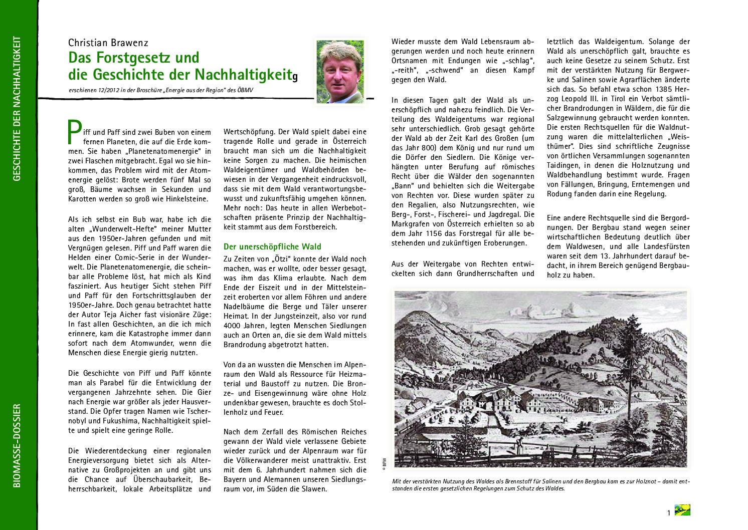Das Forstgesetz und die Geschichte der Nachhaltigkeit