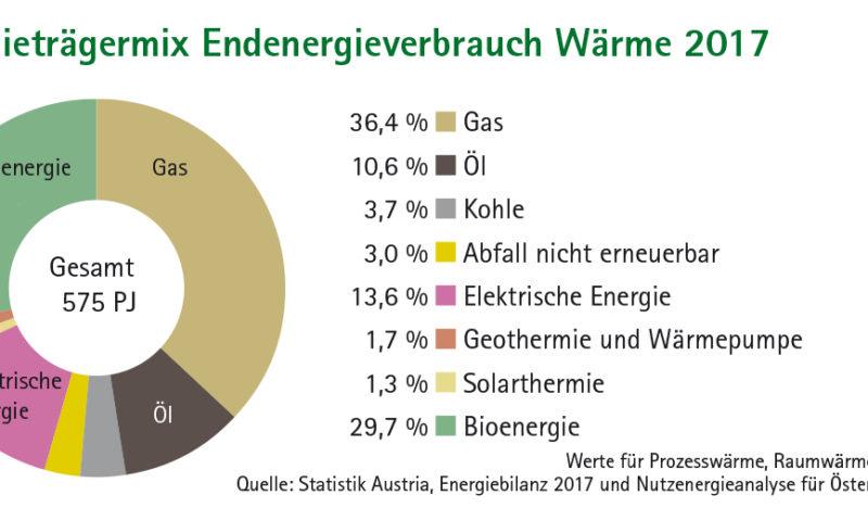 Tortendiagramm Energieträgermix Endenergieverbrauch Wärme 2017