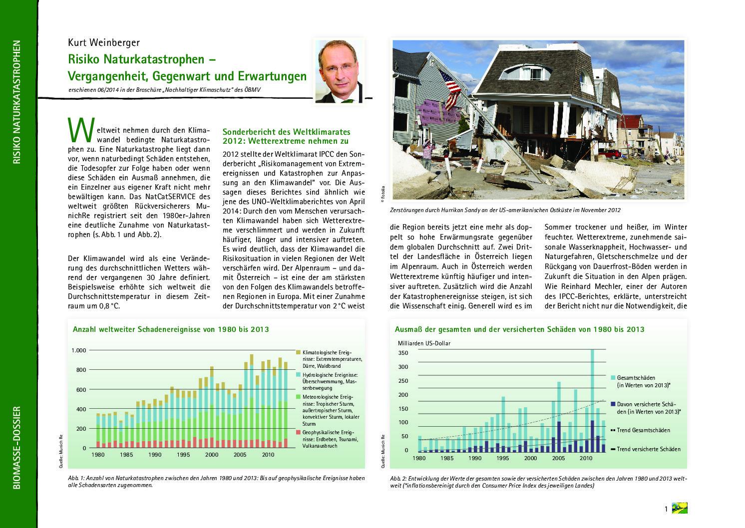 Risiko Naturkratastrophen – Vergangenheit, Gegenwart und Erwartungen