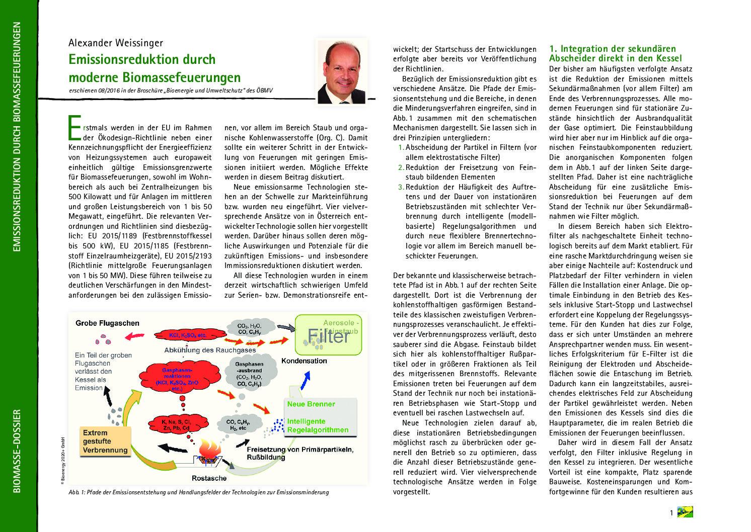 Emissionsreduktion durch moderne Biomassefeuerungen
