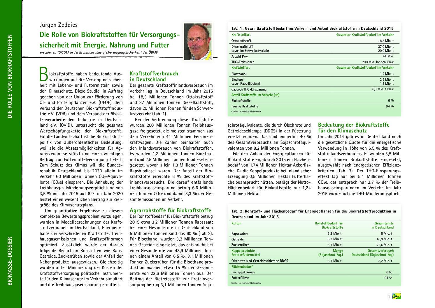 Die Rolle von Biokraftstoffen für Versorgungssicherheit mit Energie, Nahrung und Futter
